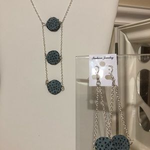 Blue and Black spotted leather earrings Set